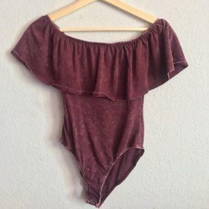 purple burgundy off the shoulder bodysuit